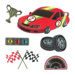Racing Forever In Time STOCK CAR 3D Sticker 6pc - Scrapbook Kyandyland