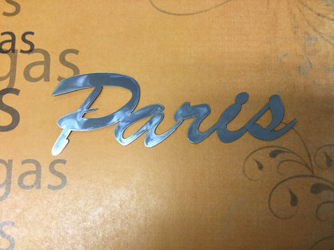"PARIS Silver Title Travel Laser Cuts 3""X12"" 1pc Scrapbooksrus"