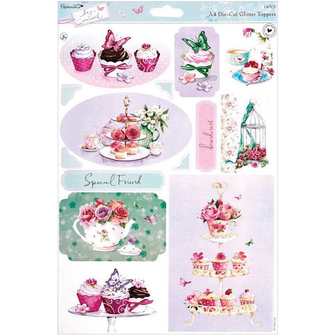 Docrafts Papermania TEA Glitter Die-Cut Toppers 14pc - Scrapbook Kyandyland