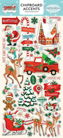 Carta Bella SANTA'S WORKSHOP Adhesive Chipboard Accents Scrapbooksrus