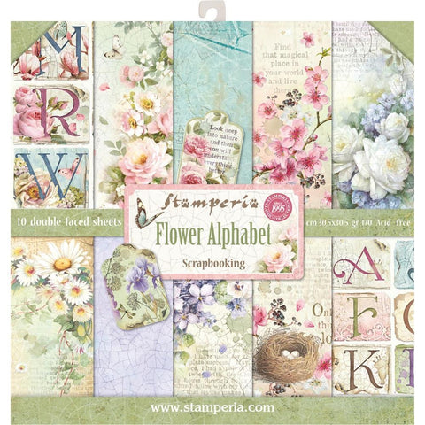 "Stamperia FLOWER ALPHABET 12""X12"" Green Scrapbook Paper Pad Scrapbookrus"