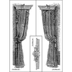 LaBlanche 3pc CURTAIN DESIGNS Mounted Stamp