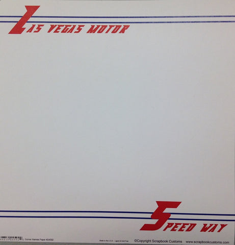 "SPEEDWAY Las Vegas Corner Names 12""X12"" Custom Travel Paper Sheet LV - Scrapbook Kyandyland"