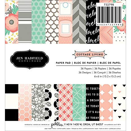 "Pebbles Jen Hadfield 6X6 COTTAGE LIVING 6""X6"" Paper Pad 36 Sheets - Scrapbooksrus"