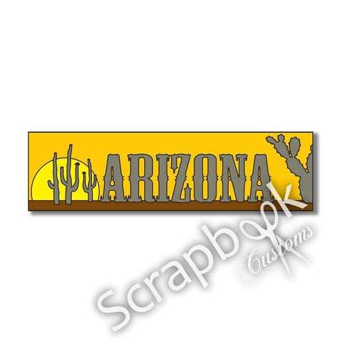 "ARIZONA TRAVEL TOPPER Laser Cut Title 3""X 9"" 1pc - Scrapbook Kyandyland"