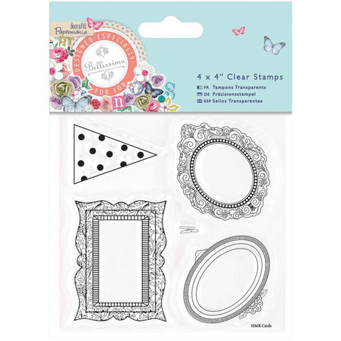 "Docrafts Papermania Bellissima MINI FRAMES Clear Stamps 4""X4"" - Scrapbook Kyandyland"