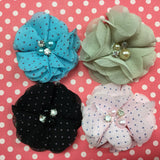 Chiffon POLKA DOT Fabric Flowers with Pearl & Rhinestone Centers 4pc
