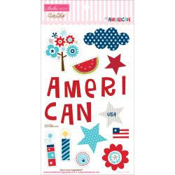 "Bella Blvd ALL AMERICAN Chipboard Icons 6""X12"" 19pc - Scrapbook Kyandyland"