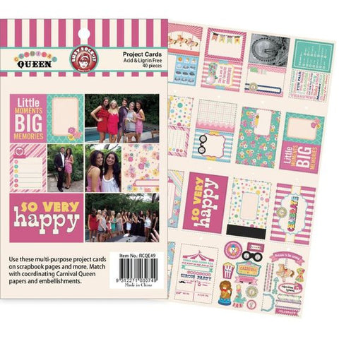 Ruby Rock-It CARNIVAL QUEEN Project Cards 40pc - Scrapbook Kyandyland