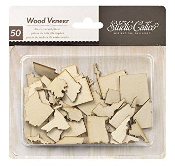 American Crafts Wood Veneer STATES Journey Travel 50pc