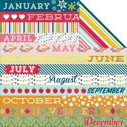 "Echo Park Through The Years MONTH BORDER STRIPS 12""X12"" Paper - Scrapbook Kyandyland"