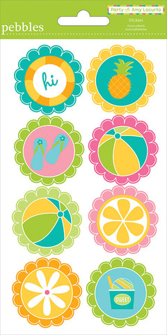 Pebbles Party Pool ROUND Stickers 8pc  Scrapbooksrus
