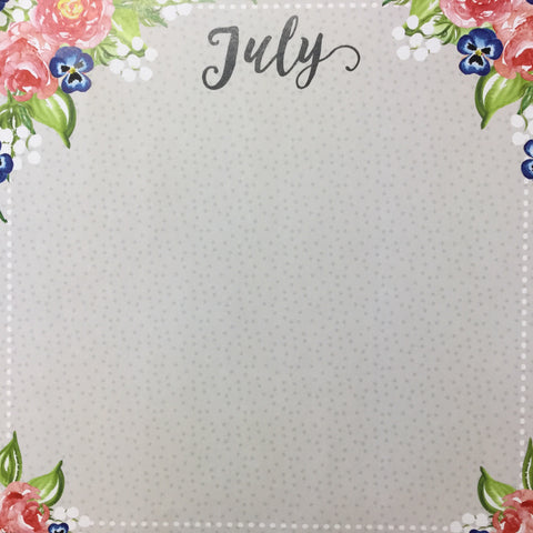 "JULY MEMORIES Double Sided12""X12"" Scrapbook Customs Paper scrapbooksrus"