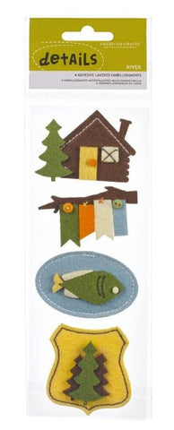 American Crafts CAMPY RIVER Details Felt Stickers 4pc - Scrapbook Kyandyland
