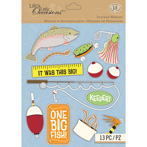 Life's Little Occasions LLO FISHING 3D Stickers 13pc - Scrapbook Kyandyland