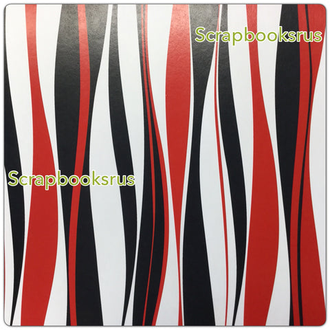 Retro Red Black Stripes @scrapbooksrus