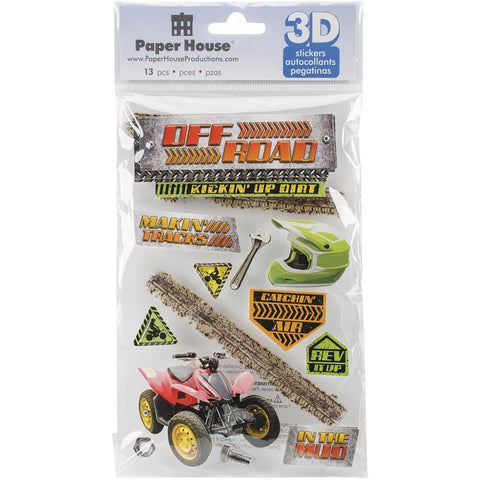 Paper House OFF ROAD 3D Stickers 13pc - Scrapbook Kyandyland