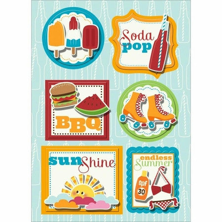 Imaginisce SODA POP 3D Chipboard Stickers 6 pc - Scrapbook Kyandyland