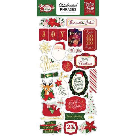 "Echo Park 6""x12"" MERRY & BRIGHT CHIPBOARD Phrases Adhesive Sticker Scrapbooksrus"