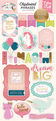 "Echo Park 6""x12"" IMAGINE THAT GIRL Chipboard  Phrases 23pc Scrapbooksrus"