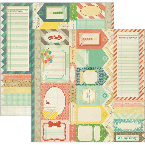 "American Crafts Party Day ACCENT CUT OUTS 12""X12"" Cardstock Paper - Scrapbook Kyandyland"