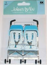 Ek Success DOUBLE STROLLER Jolee's Boutique 3D Stickers 1pc - Scrapbook Kyandyland