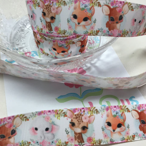 Animal Cuties Floral Grosgrain Ribbon 1 yard Scrapbooksrus Scrapbook Store