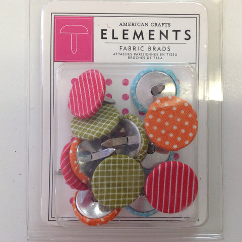 American Crafts Elements DAYDREAMS Fabric Brads 12pc - Scrapbook Kyandyland