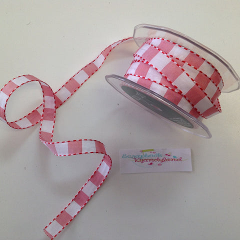 "May Arts 1/2""STITCHED SQUARES Ribbon Trim 1 yard yd - Scrapbook Kyandyland"
