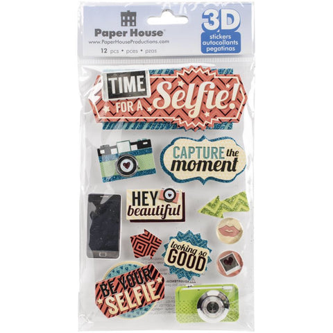 Paper House TIME FOR A SELFIE 3D Stickers 12pc - Scrapbook Kyandyland