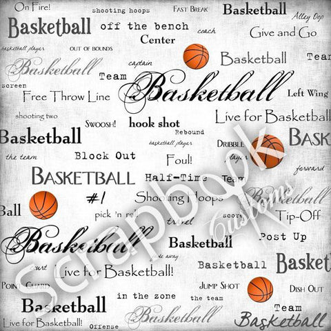 BASKETBALL Scrapbook Customs LIVE FOR 12X12 Sports Paper Sheet - Scrapbook Kyandyland