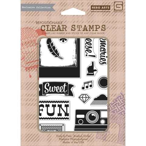 Hero Arts Basic Grey CHEESE Cling Stamps 12pc - Scrapbook Kyandyland