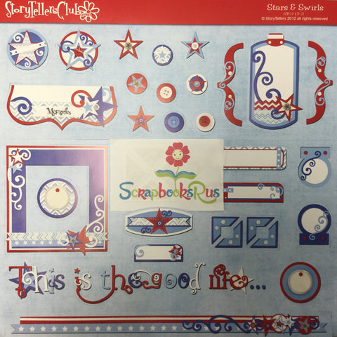 Storytellers Stars & Swirls 4th July Diecut Sheet @scrapbooksrus