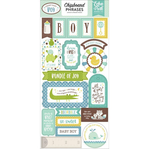"Echo Park 6""x12"" SWEET BABY BOY 2 Chipboard  Phrases 19 pc Scrapbooksrus"