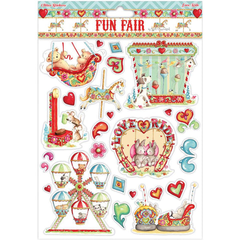 Helz Fun Fair LOVE RIDE Glitter Stickers A4 - Scrapbook Kyandyland