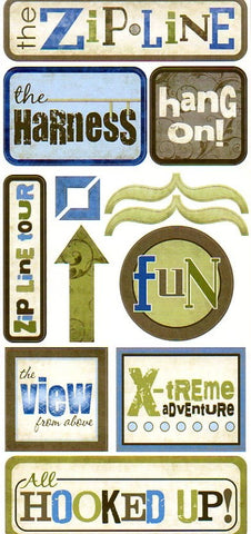 ZIP LINE Outdoor Fun Element Stickers Scrapbook Customs 13pc