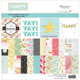 "Webster's Pages Paper Pad #HAPPY 12""X12"" 24 Pkg - Scrapbook Kyandyland"