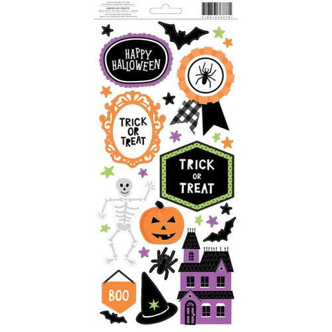 American Crafts Halloween ACCENT & PHRASE Stickers 73pc - Scrapbook Kyandyland