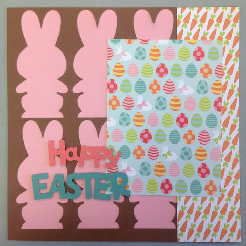 Premade Happy Easter 12x12 Scrapbook Page Pink