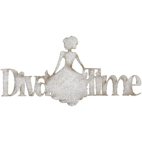 Fabscraps DIVA TIME Die-Cut Grey Chipboard Word - Scrapbook Kyandyland