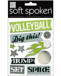 Me&My Big Ideas VOLLEYBALL 3D Stickers 11pc - Scrapbook Kyandyland