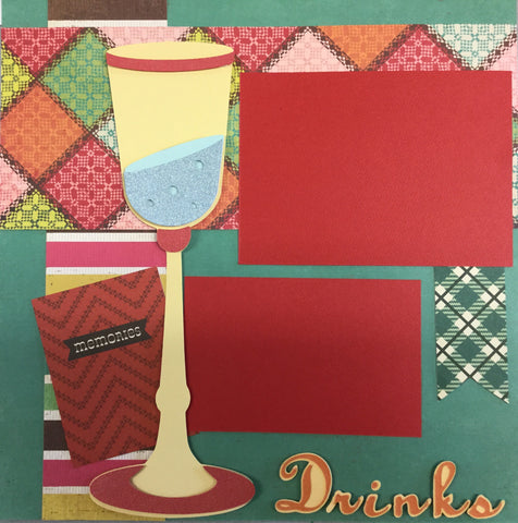 Premade DRINKS (2) 12X12 Scrapbook Pages Scrapbooksrus