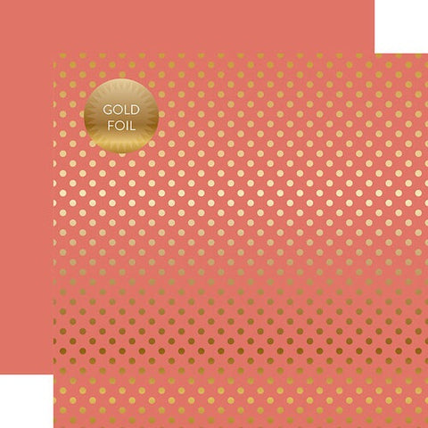 "Echo Park PEONY Gold Dot 12""X12"" FOILED Paper Scrapbooksrus"