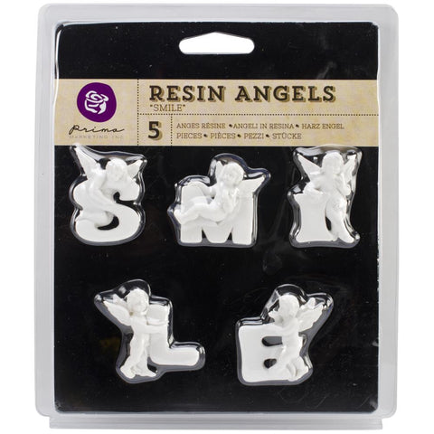 Prima SMILE Resin Angel Embellishments 5pc - Scrapbook Kyandyland
