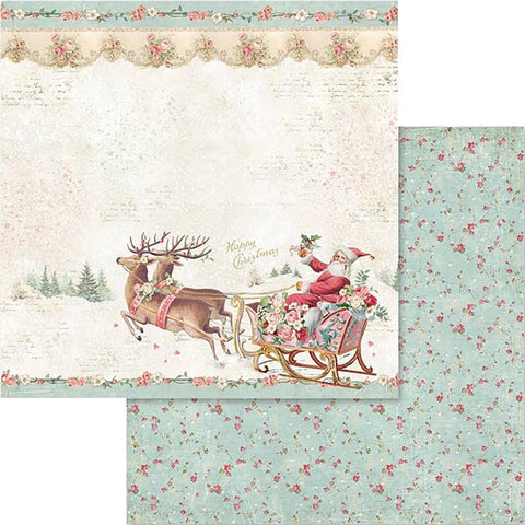 "Stamperia Pink Christmas SANTA CLAUS SLED SBB578 12""X12"" Scrapbook Paper Scrapbooksrus"