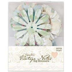 Docrafts Papermania Vintage Notes BIG BLOOMERS Flowers 32pc - Scrapbook Kyandyland