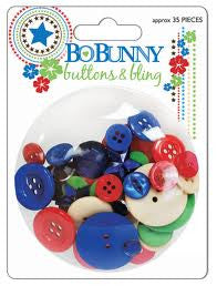 Bobunny BLOCK PARTY Buttons & Bling 35pc - Scrapbook Kyandyland