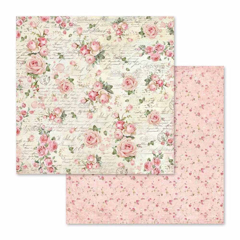 "Stamperia Pink Christmas LITTLE ROSES & SCRIPTURES SBB579 12""X12"" Scrapbook Paper Scrapbooksrus"
