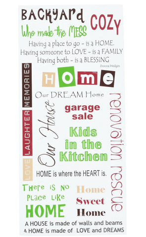 "Kaisercraft Rub Ons HOME Rubon Sentiments 6""X12"""