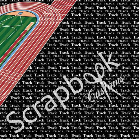 "TRACK GO BIG RIGHT 12""x12"" Sports Sheet Scrapbook Customs"